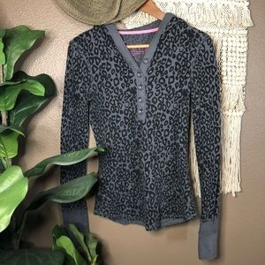 Gray Leopard Hooded Waffle Knit Top